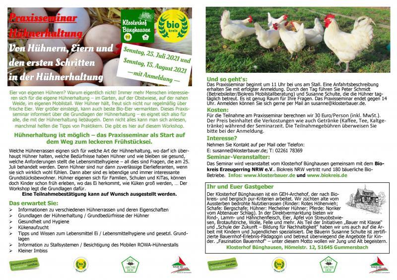 """Ausgebucht! 25. Juli: PraxisSeminar """"Einführung in die - ökologische - Hühnerhaltung"""""""